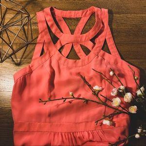 Warehouse U.K. Bright Coral Maxi Dress